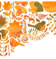 Watercolor floral greeting card Vintage retro vector image