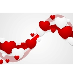 Wavy red and grey Valentine Day background vector image