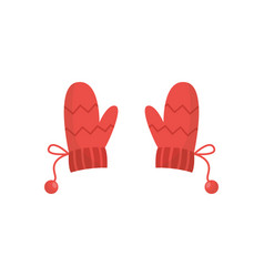 Winter red knitted warm mittens pair flat cartoon vector