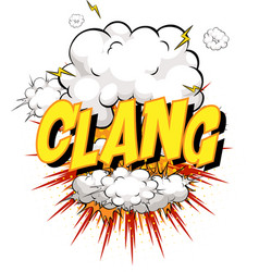 word clang on comic cloud explosion background vector image