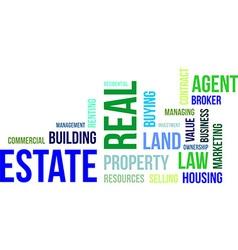 word cloud real estate vector image