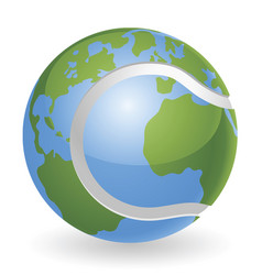 World globe tennis ball concept vector