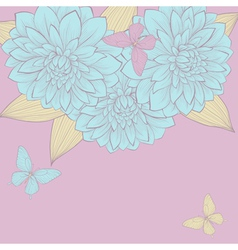 border of flowers dahlias with leaves and butterfl vector image