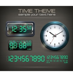 Clocks and electronic dial on vector image