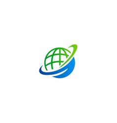 globe orbit communication logo vector image vector image