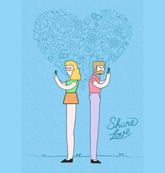 man and woman online meeting love concept design vector image vector image