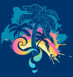 palm tree splash vector image