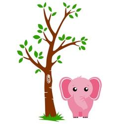 Tree and elephant vector
