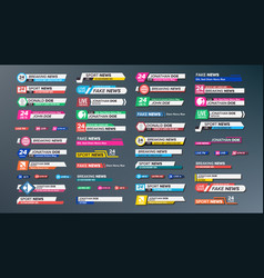 tv news bars set breaking sport news vector image
