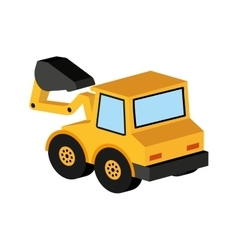 yellow truck excavator icon graphic vector image