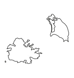 antigua and barbuda map of black contour curves vector image