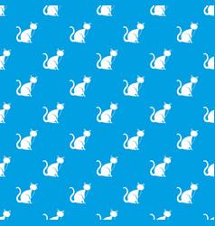 black cat pattern seamless blue vector image vector image