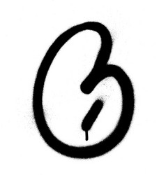 graffiti bubble font number 6 in black on white vector image vector image