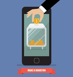 Hand donating money by smartphone vector image vector image