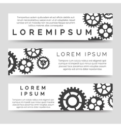 Horizontal banners template with gears vector image vector image