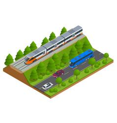 isometric train tracks and modern train railroad vector image