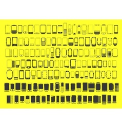 large set of different abstract 100 mobile phones vector image