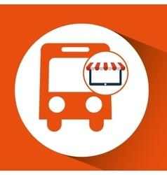 Online shop transport bus design icon vector