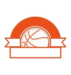 orange emblem half with volleyball ball and ribbon vector image vector image