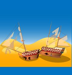 a broken ship on a deserted island vector image