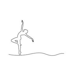 ballerina dancing outline black vector image