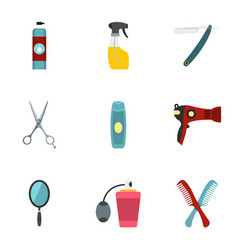 barber tools icons set flat style vector image