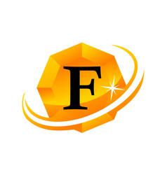diamond swoosh initial f vector image vector image
