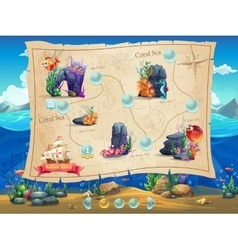 Fish World - example screen levels vector image vector image