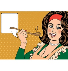 pop art retro woman with apron tasting her food vector image vector image