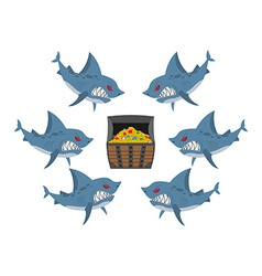 Sharks and prey Chest of gold and an angry fish vector image vector image