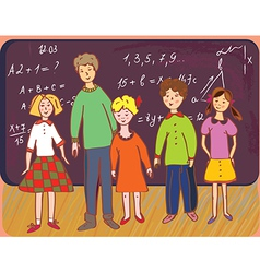 Children at school with teacher vector image vector image