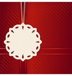 Christmas snowflake label on red vector image vector image