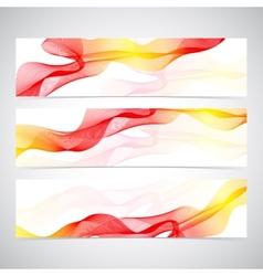 Colorful Horizontal Set Of Banners smoky waves vector image