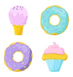 Cute sweet food icons set vector image vector image