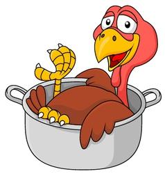 Cute Turkey in the saucepan vector image