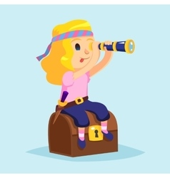 Funny cute cartoon little pirate girl with vector image