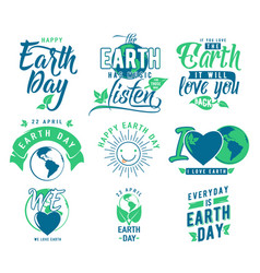happy earth day element set vector image vector image
