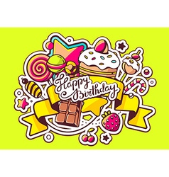 pile of sweets and ribbon with text happy vector image