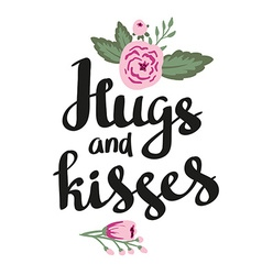 Poster template - Hugs and kisses Wedding marriage vector image