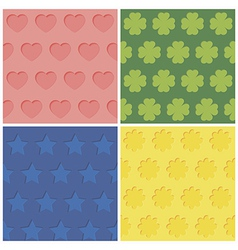 Set of four seamless relief patterns vector image