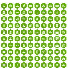 100 building icons hexagon green vector