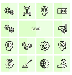 14 gear icons vector