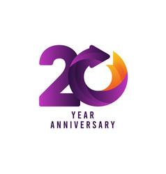 20 years anniversary gradient purple template vector