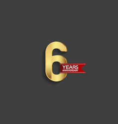 6 years anniversary simple design with golden vector