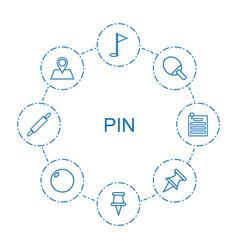 8 pin icons vector