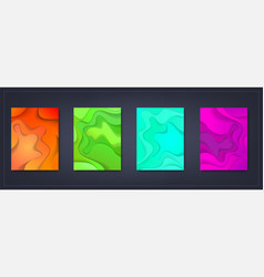a4 abstract color 3d paper art set vector image