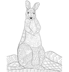 Adult coloring bookpage a cute kangaroo image vector