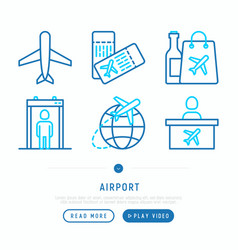 Airport thin line icons set vector