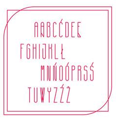 Alphabet polish in smooth narrow lines vector