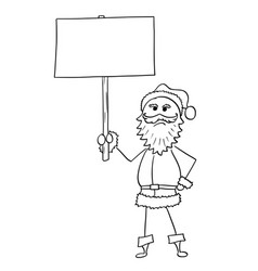 angry christmas santa claus holding empty blank vector image